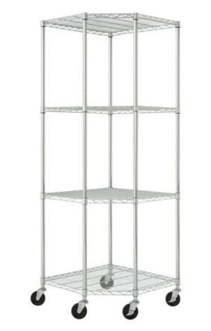 TRINITY EcoStorage 4 tier Chrome Wire Wheeled Corner Shelving Rack Retail 174 49