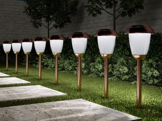 Pure Garden 50 lG1060 16 in  Solar Path Tall Stainless Steel Outdoor Stake lighting for Garden   Copper   Set of 8