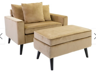 Modern Upholstered Chair with OttomanVelvet Brown Retail 377 99