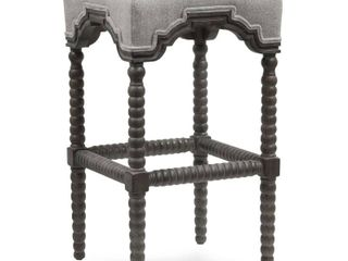 Harp   Finial Inwood Waldo Beach Tweed Fabric Barstool   Weathered Gray Wood Frame Retail 298 49