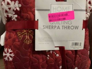 Home Collection Snowflake Red Sherpa Throw 50x60
