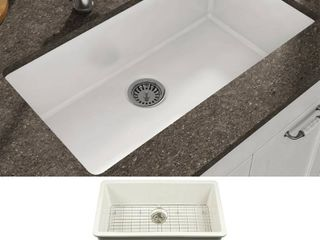 Yorkshire Undermount Fireclay 31 5  x 18 3  Single Bowl Kitchen Sink with Grid and Strainer in White Retail 373 49