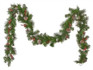 Artificial Garland   9 Foot  9 ft Mixed Spruce Clear lED Artificial Christmas Garland with Glitter Branches Red Berries  Pinecones by Christopher Knight Home