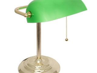 Brass Decor Works Traditional Bankers lamp with Thick Green Glass Shade and Brass Finish On Off Pull Chain switch