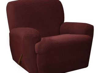 T Cushion Box Cushion Red Maytex Connor Grid Stretch 4 Piece Recliner Furniture Slipcover