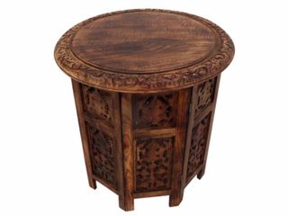 Transitional Style Octagonal Table Folding  Brown