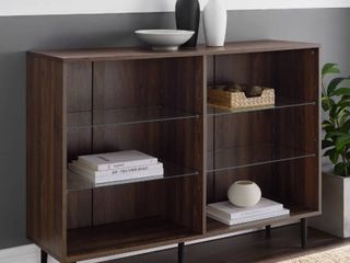 Walker Edison Furniture BS48NORDW 48 in  Mid Century Modern Bookcase 44  Dark Walnut