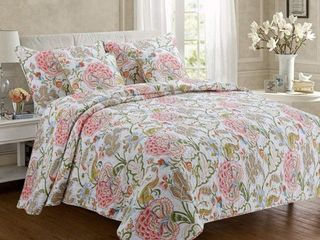 Queen  Cozy line Breezy Floral 3 Piece Reversible Cotton Quilt Set Retail 77 48