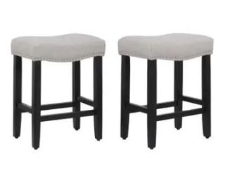 Henley 24 inch Saddle Nailhead Fabric Barstool  Set of 2  Retail 156 99