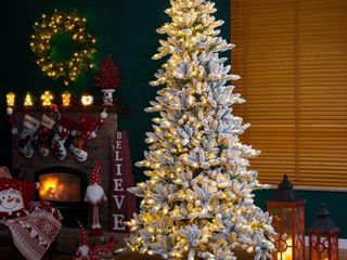 Glitzhome Snow Flocked Pre lit Fir Christmas Tree Retail 462 99