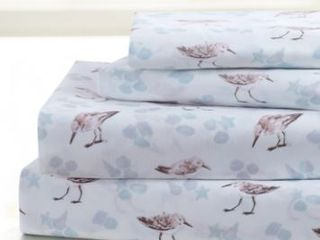 Queen Beach Birds Porch   Den Halladay Coastal Pattern 4 piece Bed Sheet Set