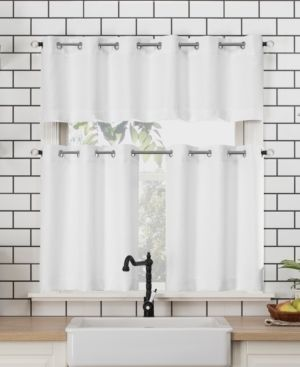 No  918 Dylan Casual Textured Semi Sheer Grommet Kitchen Curtain Valance and Tiers Set