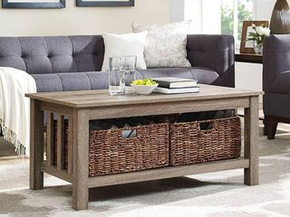 Walker Edison Storage Coffee Table with Totes