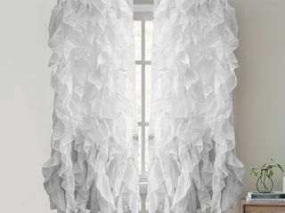 Spring All Seasons Silver Sweet Home Collection Waterfall Ruffled 63 Inch Single Curtain Panel 63x50