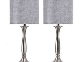Brushed Nickel w  Grey Shades  25 5  Metal Table lamps w  USB Port in Base and linen Shades  Set of 2  Retail 96 49 Nickel w  Grey Shades  Retail 96 49