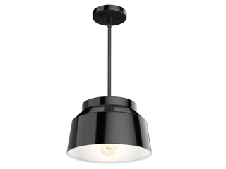 Hunter Cranbrook Collection Matte Black 1 light Cylinder Pendant