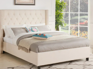 Upholstered Wingback Diamond Tufted platform Bed Queen Beige