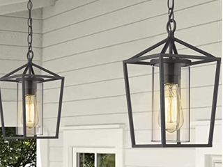 BlackBlack  Emliviar Modern Indoor Outdoor Pendant light 1 light Outdoor Pendant light with Clear Glass Set of 2