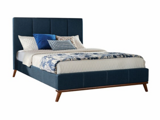 Coaster Fine Furniture Queen Headboard   Footboard with Slats Navy Blue  4 Box complete Set
