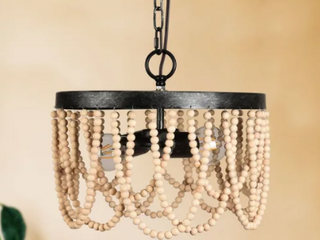 Rustic  Industrial 2 light Wood Beaded Chandelier Pendant light Retail 144 49