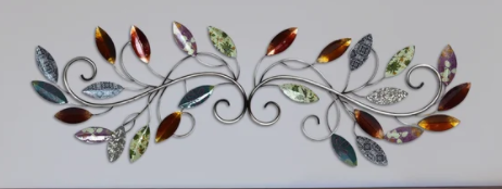 Silver Orchid laurel Scroll leaf Wall Decor