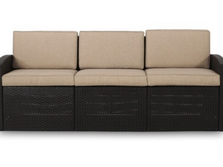 Heald Outdoor Faux Wicker 3 Seater Sofa with Cushions by Christopher Knight Home Black Beige Retail 349 99