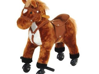 Kids   Brown   Assembled  Qaba Plush Walking Horse Toy with Wheels and Sound Retail 92 99