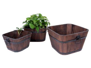 leisure Season Barrel Style Square Wooden Planters Set of 3