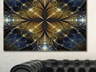 Designart  Digital Gold Fractal Flower Pattern  Abstract Wall Art Canvas Retail 88 21