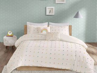 Full Queen Kelsey Cotton Pom Pom Duvet Cover Set