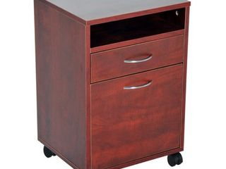 HomCom 24  Rolling End Table Mobile Printer Cart Nightstand Organizer   Brown