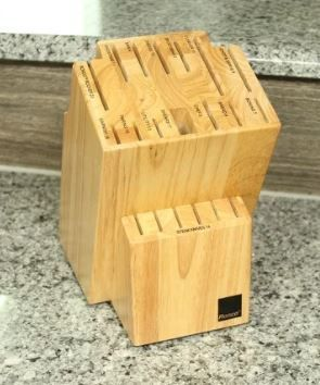 Natural Ronco 20 Slot Knife Block  Honey Oak Hardwood with labeled Slots