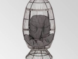 Pintan Outdoor Wicker Swivel Egg Chair with Cushion by Christopher Knight Home Toupe  Dark Grey Retail 291 99