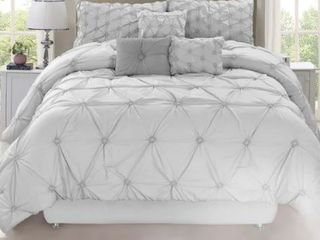 Queen  Chateau Grey 7 Piece Comforter Set Retail 93 49