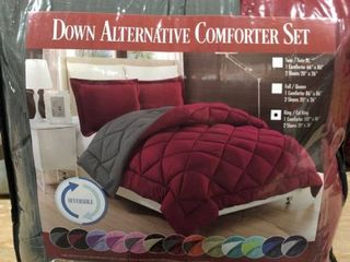 Red Grey   King   California King  Comfort All Season Down Alternative 3 Piece Reversible Comforter Set