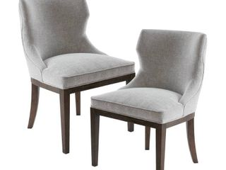Madison Park Signature Hutton Grey Fabric  Wood Dining Chair  Set of 2  Retail 392 49