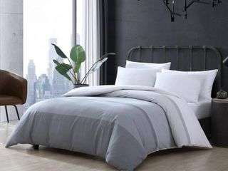 Twin Tronka Stripe Duvet Cover Set Gray   City Scene