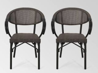 Meaux Outdoor Parisian Cafe Chair  Set of 2  by Christopher Knight Home   22 75  W x 21 00  l x 32 50  H Retail 222 49