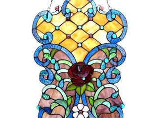 CHlOE lighting ROZE Tiffany glass Victorian Window Panel 24  Height