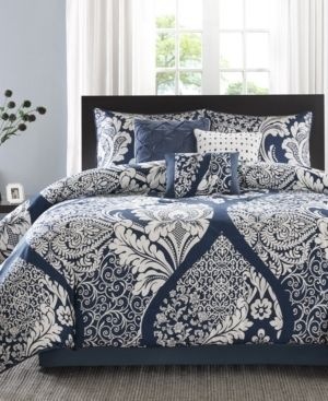 Madison Park Marcella Indigo Cotton Printed 7 Piece Comforter Set Retail 122 98