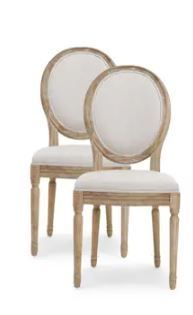 Phinnaeus French Country Fabric Dining Chairs  Set of 2  by Christopher Knight Home