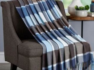 Teal and Brown Plaid  Carson Carrington Uusikaupunki Oversized Acrylic Throw