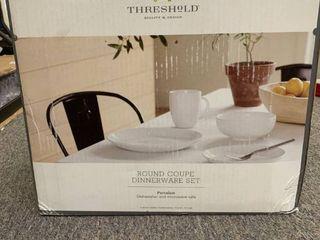 Porcelain 16pc Coupe Dinnerware Set White   Thresholda  RETAIl  50 00
