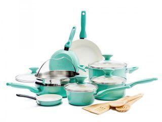 The Original Green Pan Rio Ceramic Non Stick 16 Piece Cookware Set  Turquoise  RETAIl  199 99