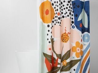 lOT OF 2 Shower Curtains  White Waffle Weave   Exploded Graphic Shower Curtain  RETAIl  29 99