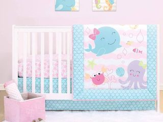 The Peanutshell Sea Sweeties 4 PIECE Crib Bedding Sets for Baby Girls Crib Comforter  Fitted Crib Sheet  Crib Skirt with Plush Whale  RETAIl  54 99