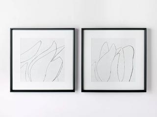Set of 2  24  x 24  Sketch Art Print Black White   Thresholda designed with Studio McGee  RETAIl  70 00