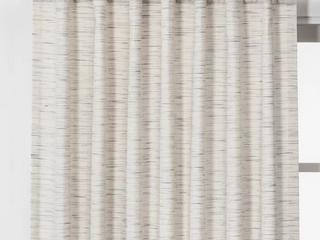 lOT OF 2 Striation Herringbone light Filtering Window Curtain Panel   Project 62  Cream Blue  84 x54   RETAIl  49 98