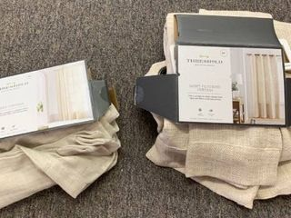 lOT OF 2 Coordinating Curtain Panels  both 84  Inner Sheer   Textured Weave light Filtering  RETAIl  56 98