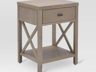 Owings Table With Drawers   Thresholda  Rustic Gray  RETAIl  100 00   Matches lot 73107